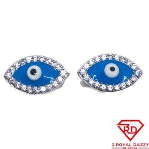 Blue Evil Eye white CZ stud Earrings White gold